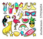 fashion summer patches with...   Shutterstock .eps vector #579256054