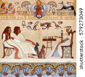 murals ancient egypt scene.... | Shutterstock .eps vector #579273049