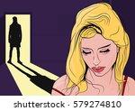 girl looking down. flat vector... | Shutterstock .eps vector #579274810