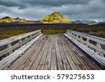 Wooden Bridge Over A River In...