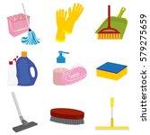 icons of objects for cleaning... | Shutterstock .eps vector #579275659