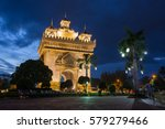 Patuxai Monument At Night In...