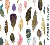 colorful detailed bird feathers ... | Shutterstock .eps vector #579280048