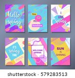hello spring posters set in...   Shutterstock .eps vector #579283513