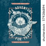 sea adventures poster  time to... | Shutterstock .eps vector #579286894