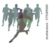 marathon runners people crowd... | Shutterstock .eps vector #579289000