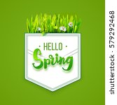 hello spring lettering on... | Shutterstock .eps vector #579292468