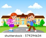 happy school children with... | Shutterstock .eps vector #579294634