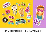 hippie  bohemian stickers  pins ... | Shutterstock .eps vector #579295264