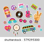 hippie  bohemian stickers  pins ... | Shutterstock .eps vector #579295300