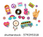 hippie  bohemian stickers  pins ... | Shutterstock .eps vector #579295318