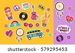 hippie  bohemian stickers  pins ... | Shutterstock .eps vector #579295453