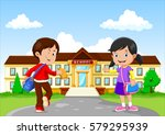 happy little kids with bags and ... | Shutterstock .eps vector #579295939