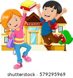cute little boy and girl with... | Shutterstock .eps vector #579295969