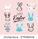 bunny  rabbits  cute characters ... | Shutterstock .eps vector #579300418
