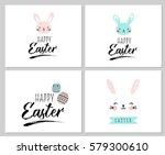 happy easter greeting card ... | Shutterstock .eps vector #579300610