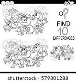 black and white cartoon... | Shutterstock .eps vector #579301288