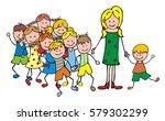 teacher with children on a trip ... | Shutterstock .eps vector #579302299