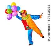 birthday child clown with...   Shutterstock . vector #579315388