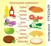 fresh hamburger ingredients...   Shutterstock .eps vector #579325639
