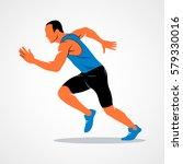 runners on short distances...   Shutterstock .eps vector #579330016