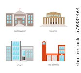 set of urban buildings in a... | Shutterstock .eps vector #579332464