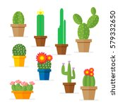 set of cactus in a pot.... | Shutterstock .eps vector #579332650