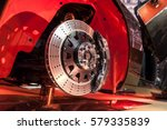 Brake disk and detail of a wheel hub - stock photo