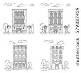 city skyline in line art style... | Shutterstock .eps vector #579337429