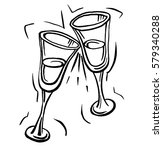 pair of champagne glasses  ... | Shutterstock . vector #579340288