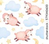 watercolor illustration of cute ... | Shutterstock . vector #579340600