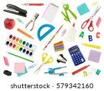arrangement of various school... | Shutterstock . vector #579342160
