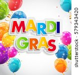 mardi gras party holiday poster ... | Shutterstock . vector #579343420