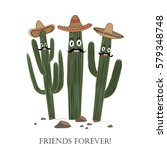 Three Cute Cartoon Saguaro...