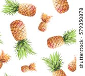 watercolor pineapples seamless... | Shutterstock . vector #579350878