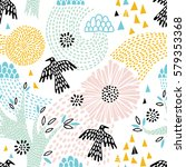 seamless floral pattern with... | Shutterstock .eps vector #579353368