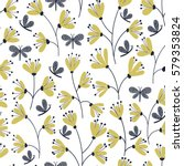 seamless vector floral pattern... | Shutterstock .eps vector #579353824
