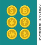 icons of gold coins with images ... | Shutterstock .eps vector #579355690