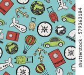 travel doodles seamless... | Shutterstock .eps vector #579363184