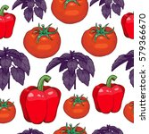 seamless pattern of pepper and... | Shutterstock .eps vector #579366670