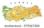 turkey physical vector map...   Shutterstock .eps vector #579367300