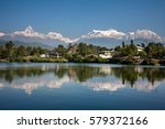 view at annapurna mountain... | Shutterstock . vector #579372166