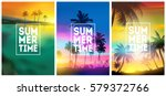 summer tropical backgrounds set ...