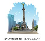 mexico. angel of independence... | Shutterstock .eps vector #579382144