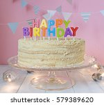 happy birthday cake with flag... | Shutterstock . vector #579389620