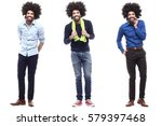 fashion afro man in a row | Shutterstock . vector #579397468