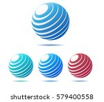 abstract globe icons in four... | Shutterstock .eps vector #579400558