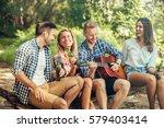 fiends enjoying camping and...   Shutterstock . vector #579403414