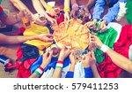 multicultural friends eating... | Shutterstock . vector #579411253