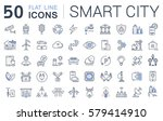 set  line icons in flat design... | Shutterstock . vector #579414910
